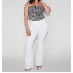Express White High Rise Bell Flare Plus size 16 R